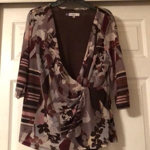 Jennifer Lopez 1X 3/4 sleeve blouse purple & gray
